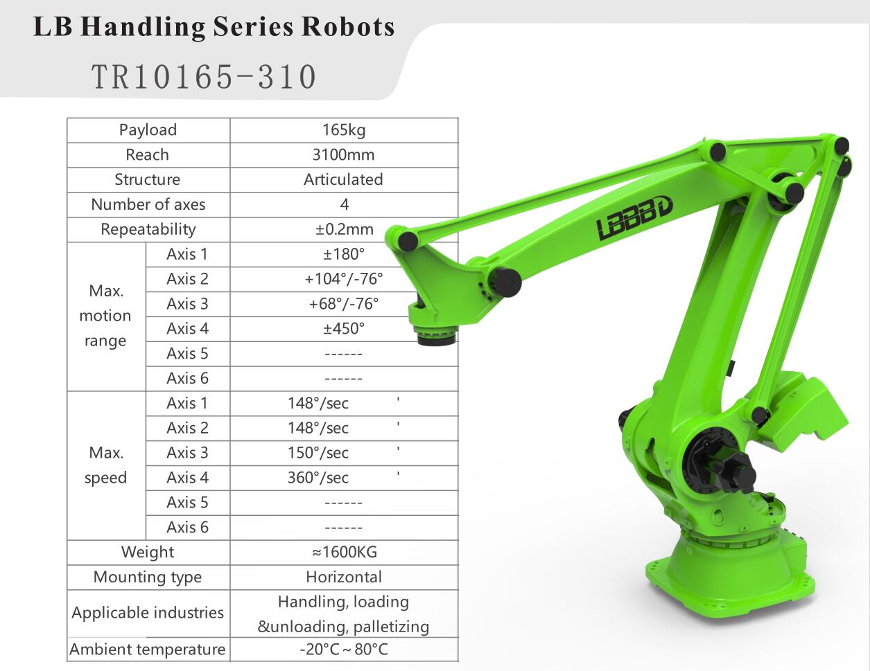 Payload 165kg 4 Axis Robot