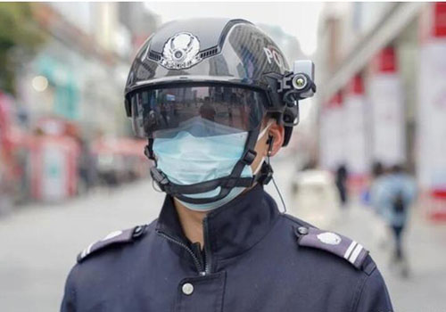 China Black Technology Thermometry Helmet for Coronavirus(COVID-19) checking. It's look like watch Science Fiction